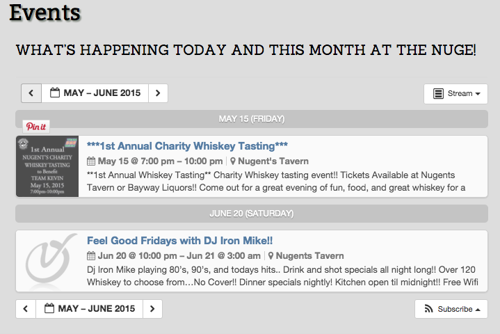 Nugent's Event Calendar