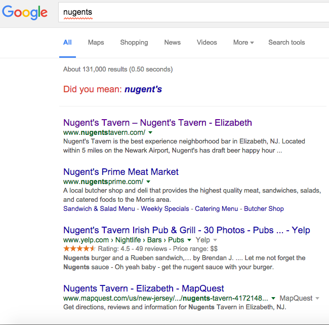 Nugents Tavern Search Results